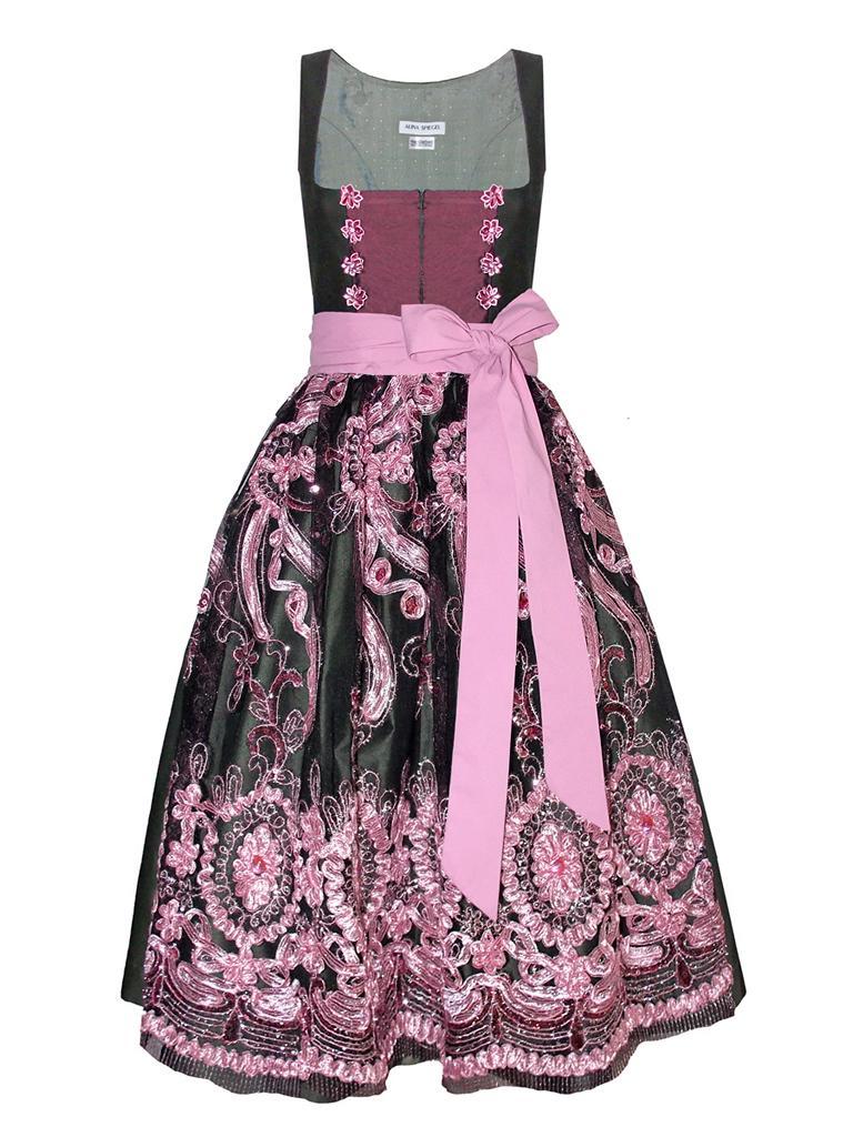 VT - Couture Dirndl mauve rosa oliv mit Spitzenschürze und Blumen