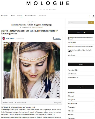 MOLOGUE | Kurzinterview mit Alina Spiegel