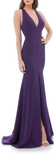 Carmen Marc Valvo Infusion V-Neck Halter Style Gown