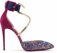 Christian Louboutin - Suzanna 100 Leather-trimmed Glittered Suede Pumps - Plum
