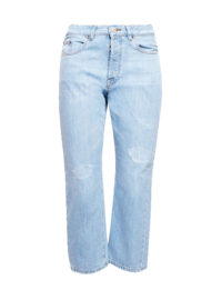 Esprit Verkürzte Mom-Jeans im Used-Look für Damen Blue Light Washed