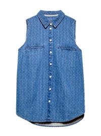 Jeans-Bluse mit feinen Webtupfen