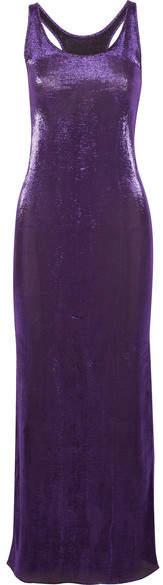 Juan Carlos Obando - Hercules Metallic Stretch Silk-blend Maxi Dress - Purple