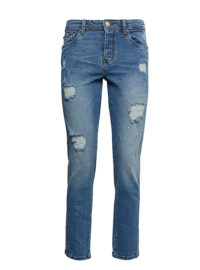 Liva Slim Boyfriend Jeans, Frauen, destroyed mid stone wash