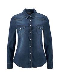 MUSTANG Jeansbluse, blau, Damen, dunkelblau