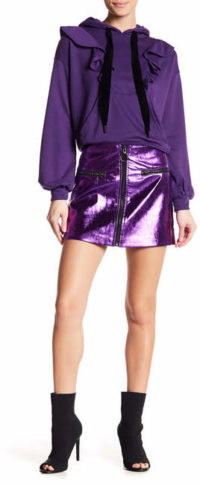 OOBERSWANK Front Zip Metallic Mini Skirt