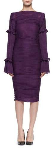 TOM FORD Long-Sleeve Ruched Knit Dress