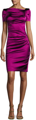 Talbot Runhof Noomi Short-Sleeve Duchesse Satin Ruched-Side Cocktail Dress, Fuchsia