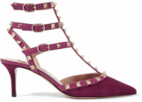 Valentino - The Rockstud Leather-trimmed Suede Pumps - Grape