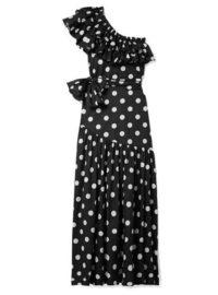 Caroline Constas - Rhea One-shoulder Ruffled Polka-dot Cotton-blend Poplin Maxi Dress - Black