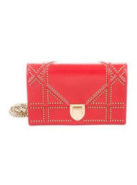 Christian Dior Studded Diorama Wallet On Chain