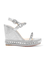 Christian Louboutin - Pyraclou 110 Spiked Metallic Textured-leather Wedge Sandals - Silver