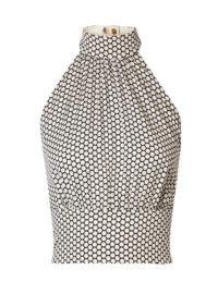Diane von Furstenberg - Polka-dot Stretch-silk Crepe Halterneck Top - Off-white