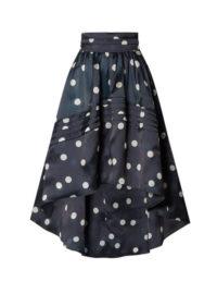 GANNI - Asymmetric Polka-dot Silk-organza Skirt - Navy