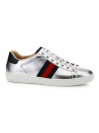 Gucci New Ace Metallic Leather Low-Top Sneakers