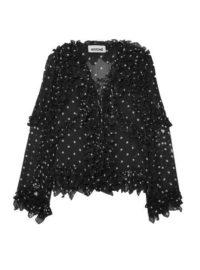 Koché - Ruffled Lace-up Polka-dot Silk Blouse - Black