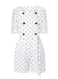 Lisa Marie Fernandez - Diana Double-breasted Embroidered Polka-dot Linen Playsuit - White