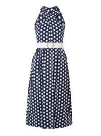 MICHAEL Michael Kors - Belted Polka-dot Stretch-jersey Dress - Navy