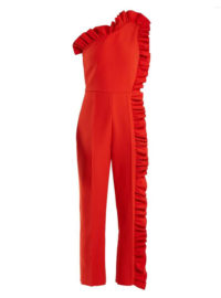 MSGM One-shoulder ruffle-trimmed jumpsuit