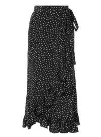 Raquel Diniz - Lucy Ruffled Polka-dot Silk-chiffon Wrap Skirt - Black