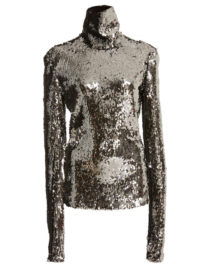 Sally LaPointe M'O Exclusive Stretch Sequin Turtleneck Ski Top