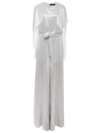 Sally LaPointe Tinsel Silk Cape Jumpsuit