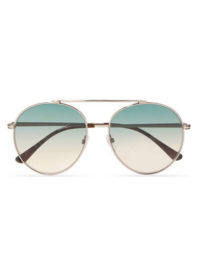 TOM FORD - Aviator-style Silver-tone And Acetate Sunglasses