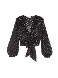 Temperley London - Ruffled Polka-dot Silk-chiffon Blouse - Black