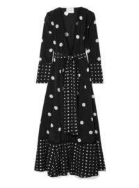 we are LEONE - Polka-dot Silk Crepe De Chine Robe - Black